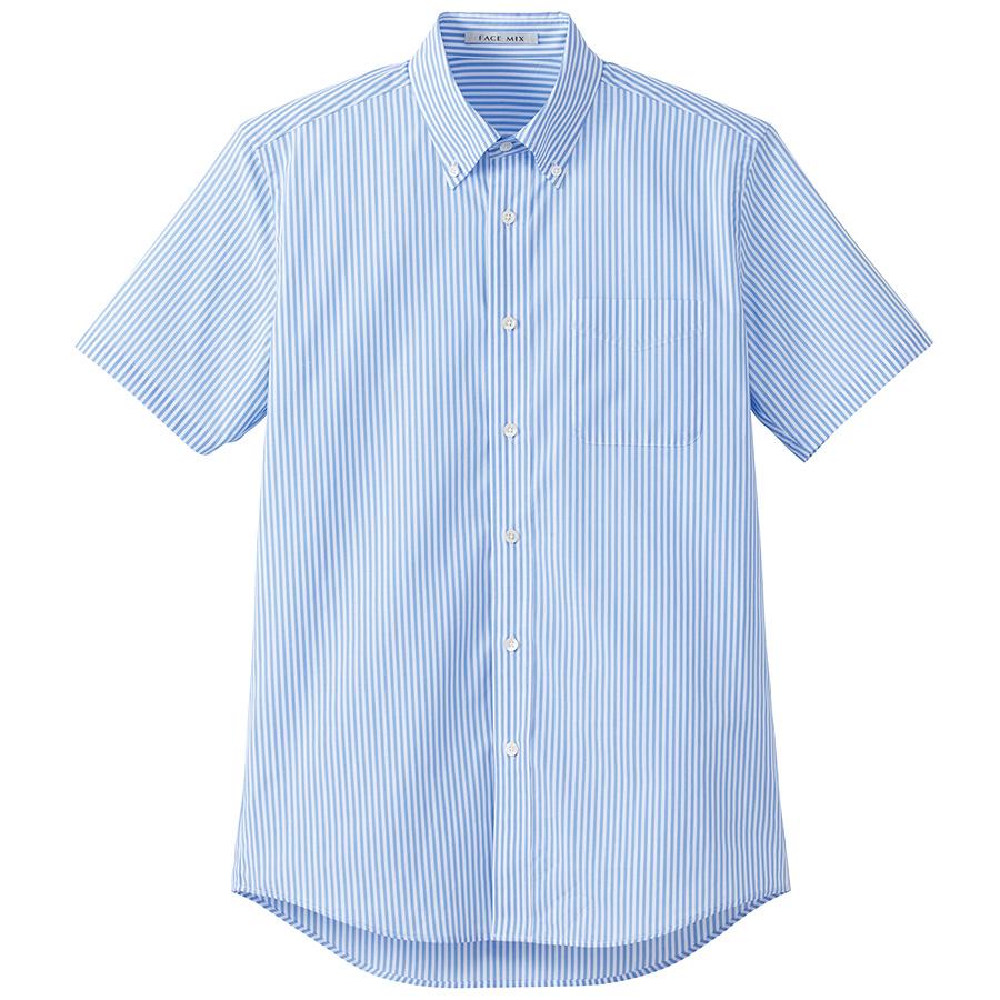 メンズ ストライプ調温半袖シャツ FB5031M−7 ブルー