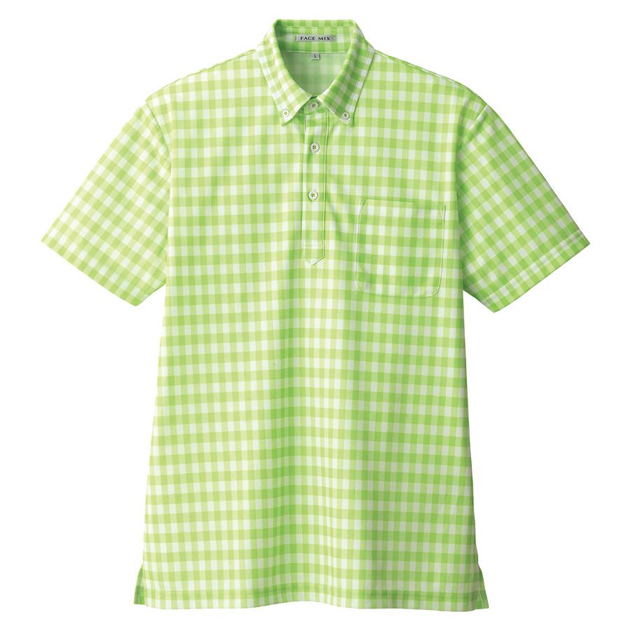 チェックプリント ポロシャツ FB4523U−4 グリーン (SS〜4L)