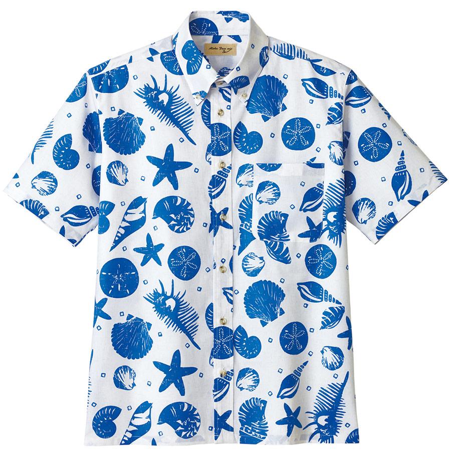 ユニセックス アロハシャツ 貝柄 FB4541U−8 ネイビー