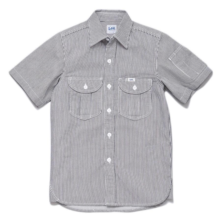 メンズ ワーク半袖シャツ LWS46002−18 ホワイト×ブルー