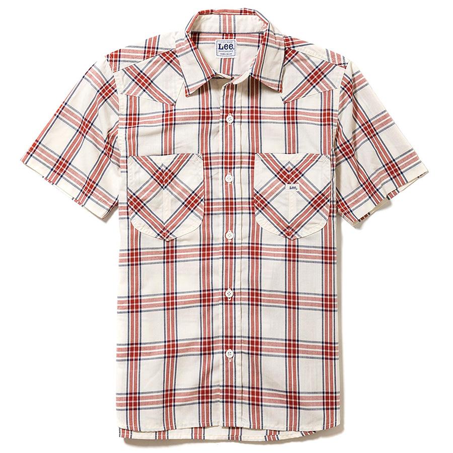 メンズ ウエスタン半袖シャツ LCS46008−3 レッド