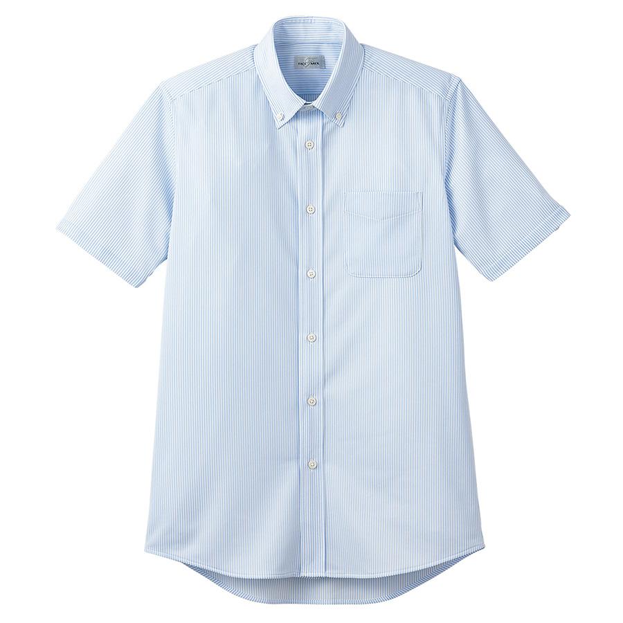 ボタンダウンニット半袖シャツ FB4558U−7 ブルーストライプ