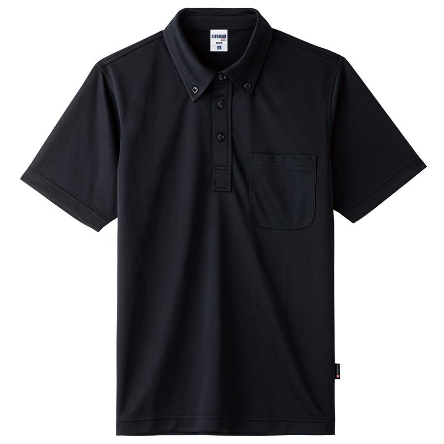 4.3オンス ボタンダウンドライポロシャツ(ポリジン加工) MS3119−16 ブラック