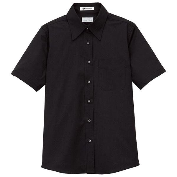 レギュラーカラー 半袖 ブラウス FB4004L−16 ブラック