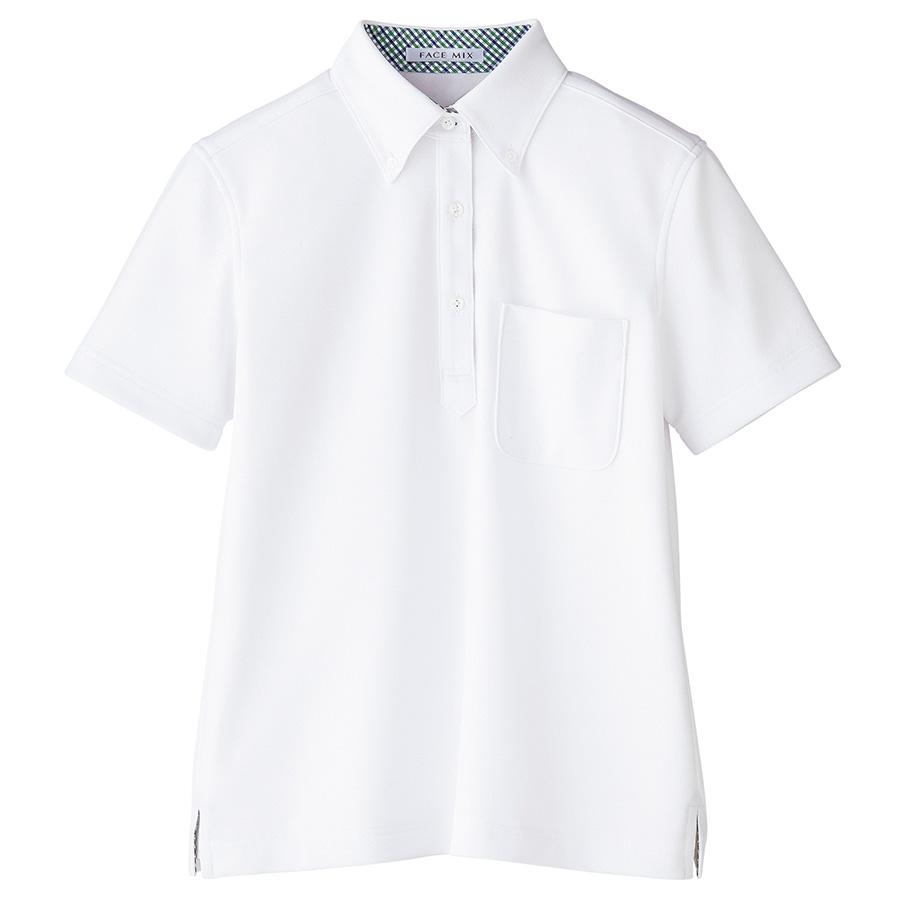 レディス 吸水速乾ポロシャツ チェック FB4017L−15 ホワイト (S〜3L)