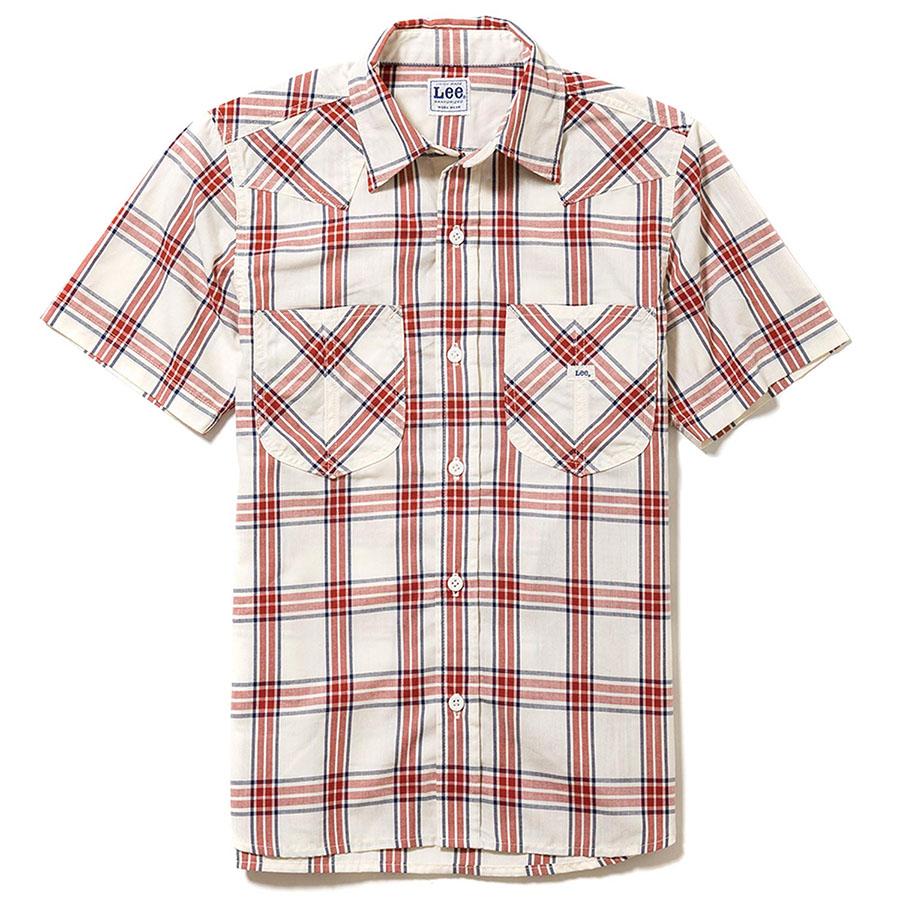 レディース ウエスタン半袖シャツ LCS43008−3 レッド