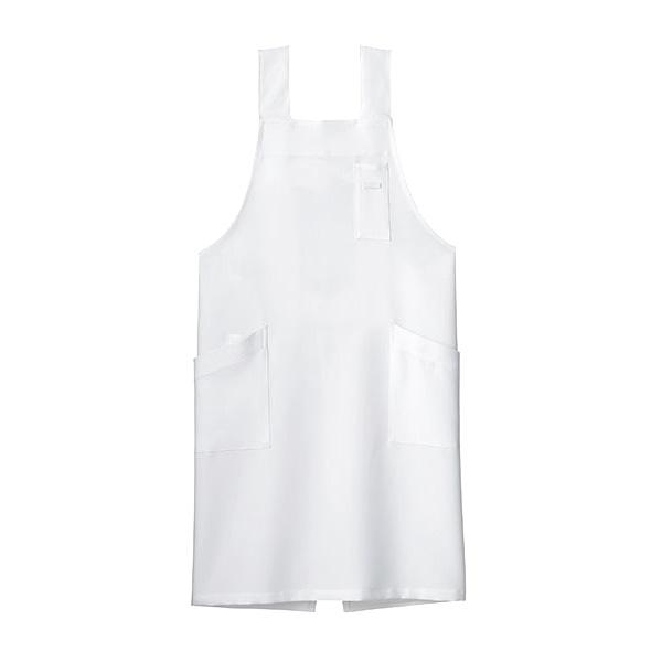 H型胸当てエプロン FK7164−15 ホワイト