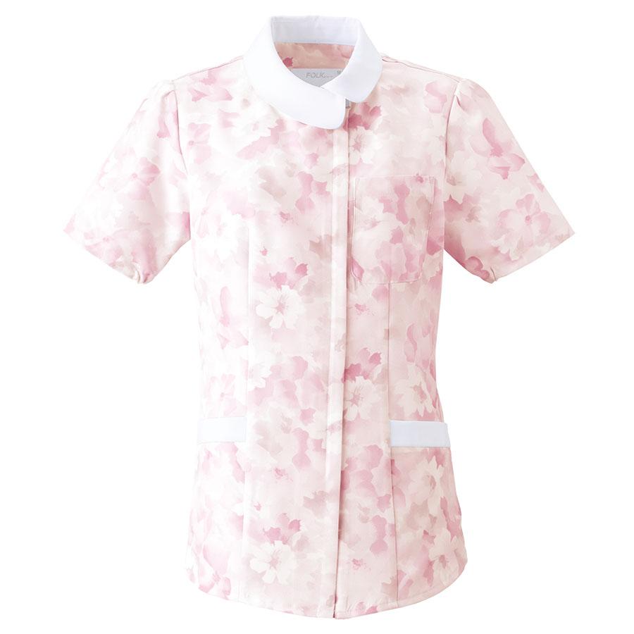 レディース ジップチュニック (花柄) 2144−3 ピンク