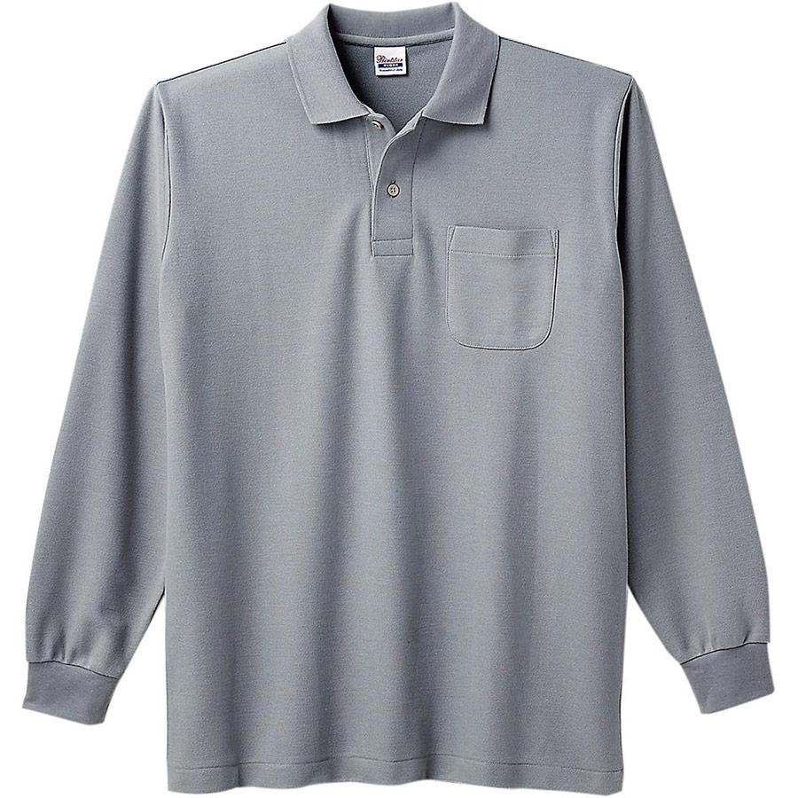 T/C長袖ポロシャツ ポケット付き 00169−VLP 002 グレー SS〜5L