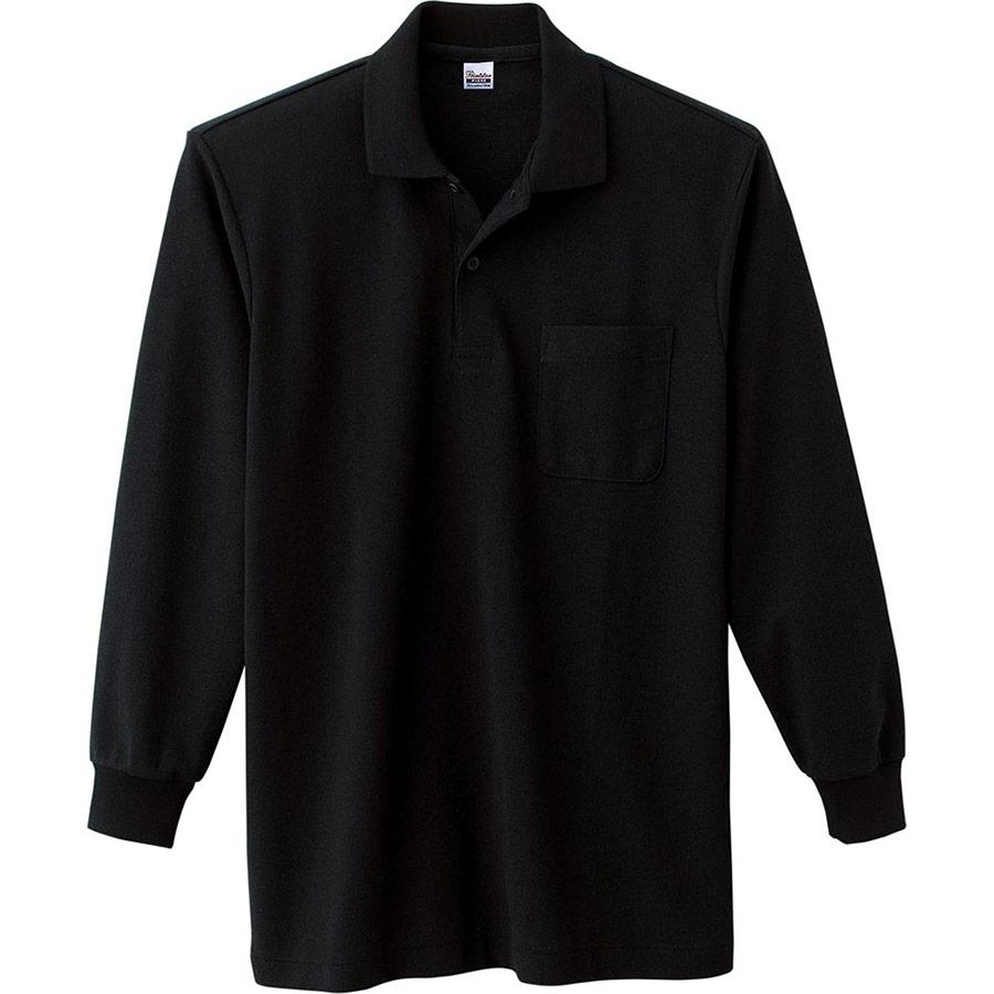 T/C長袖ポロシャツ ポケット付き 00169−VLP 005 ブラック 3L〜5L