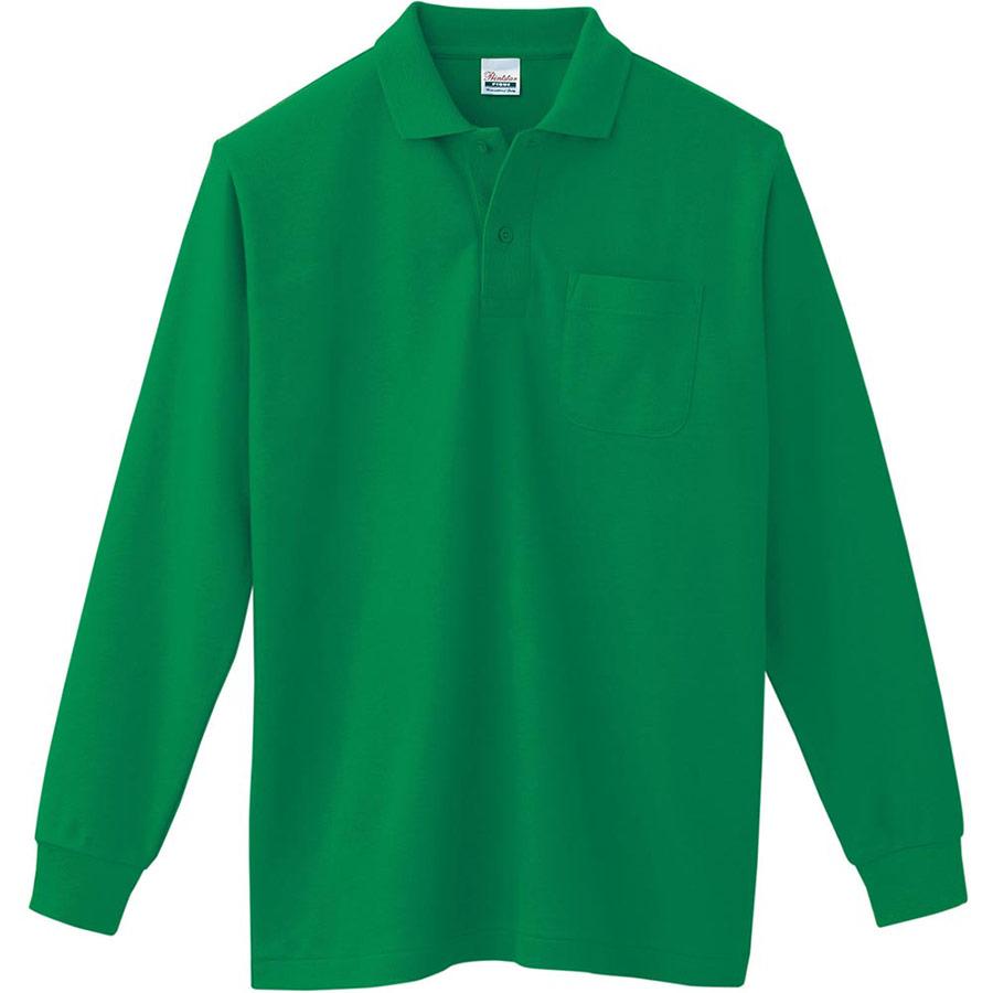 T/C長袖ポロシャツ ポケット付き 00169−VLP 025 グリーン SS〜5L