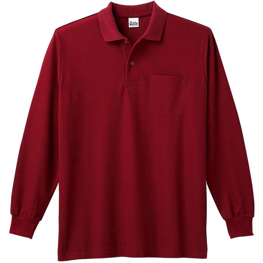 T/C長袖ポロシャツ ポケット付き 00169−VLP 112 バーガンディ 3L〜5L