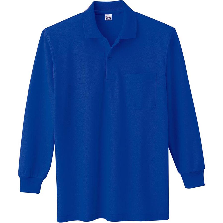 T/C長袖ポロシャツ ポケット付き 00169−VLP 032 ロイヤルブルー 3L〜5L