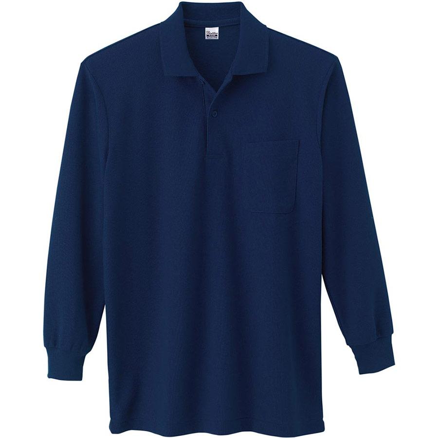 T/C長袖ポロシャツ ポケット付き 00169−VLP 031 ネイビー SS〜LL
