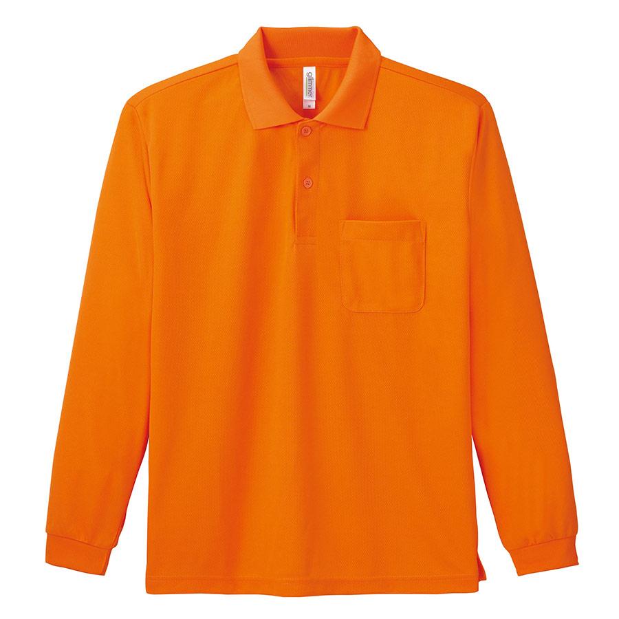 ドライ長袖ポロシャツ ポケット付き 00335−ALP 015 オレンジ 3L〜5L