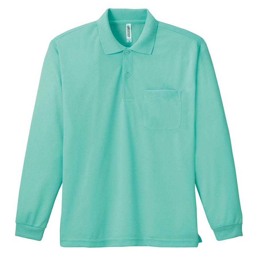 ドライ長袖ポロシャツ ポケット付き 00335−ALP 026 ミントグリーン SS〜LL