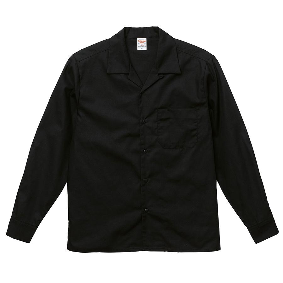 T/C オープンカラー ロングスリーブ シャツ 1760−01 002 ブラック