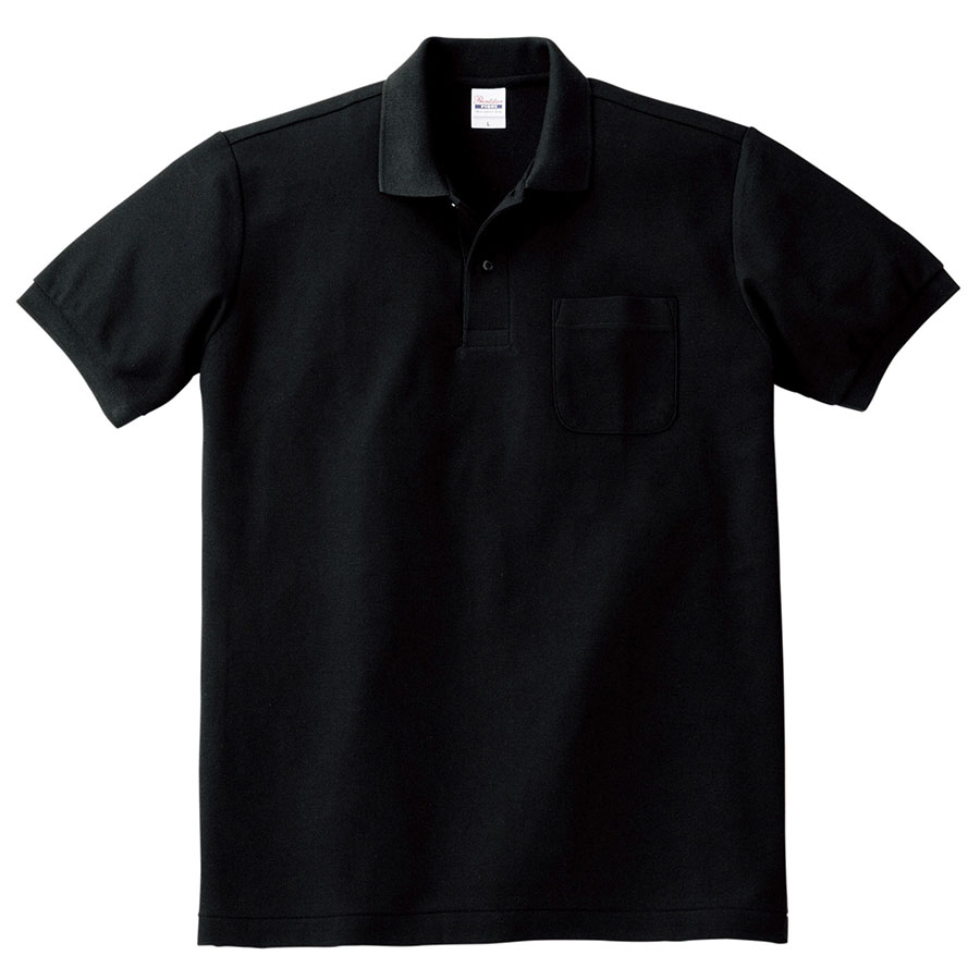 T/Cポロシャツ ポケット付き 00100−VP 005 ブラック SS〜LL