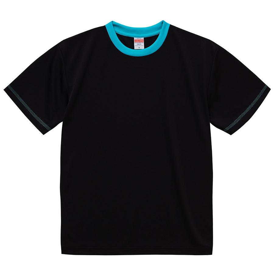 4.1oz ドライアスレチックTシャツ <アダルト> 5900−01 2072 ブラック/ターコイズブルー