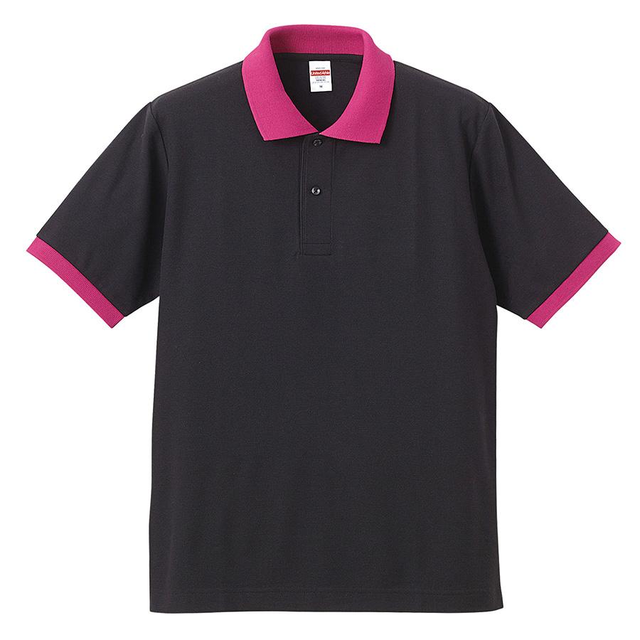 5.3oz ドライカノコ ユーティリティーポロシャツ 5050−01 2065 ブラック/トロピカルピンク