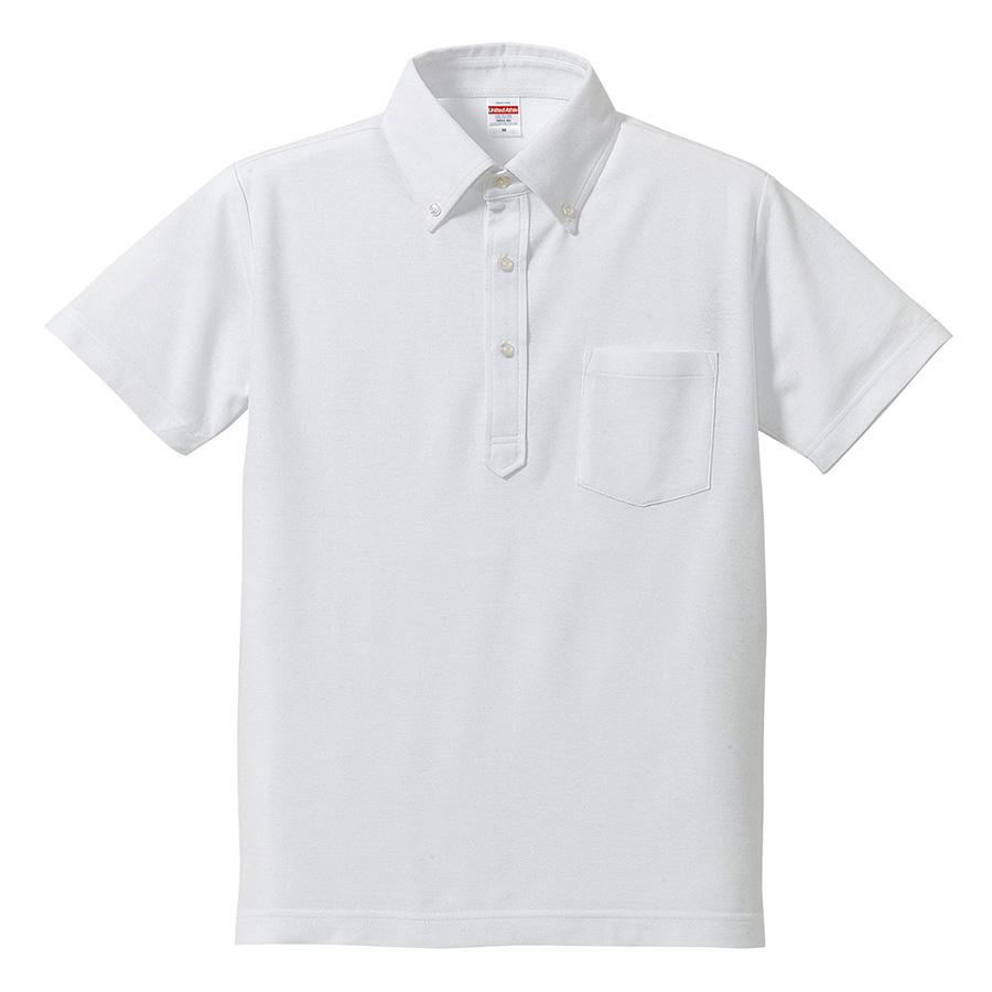 5.3oz ドライカノコ ユーティリティーポロシャツ (ボタンダウン)(ポケット付) 5051−01 001 ホワイト