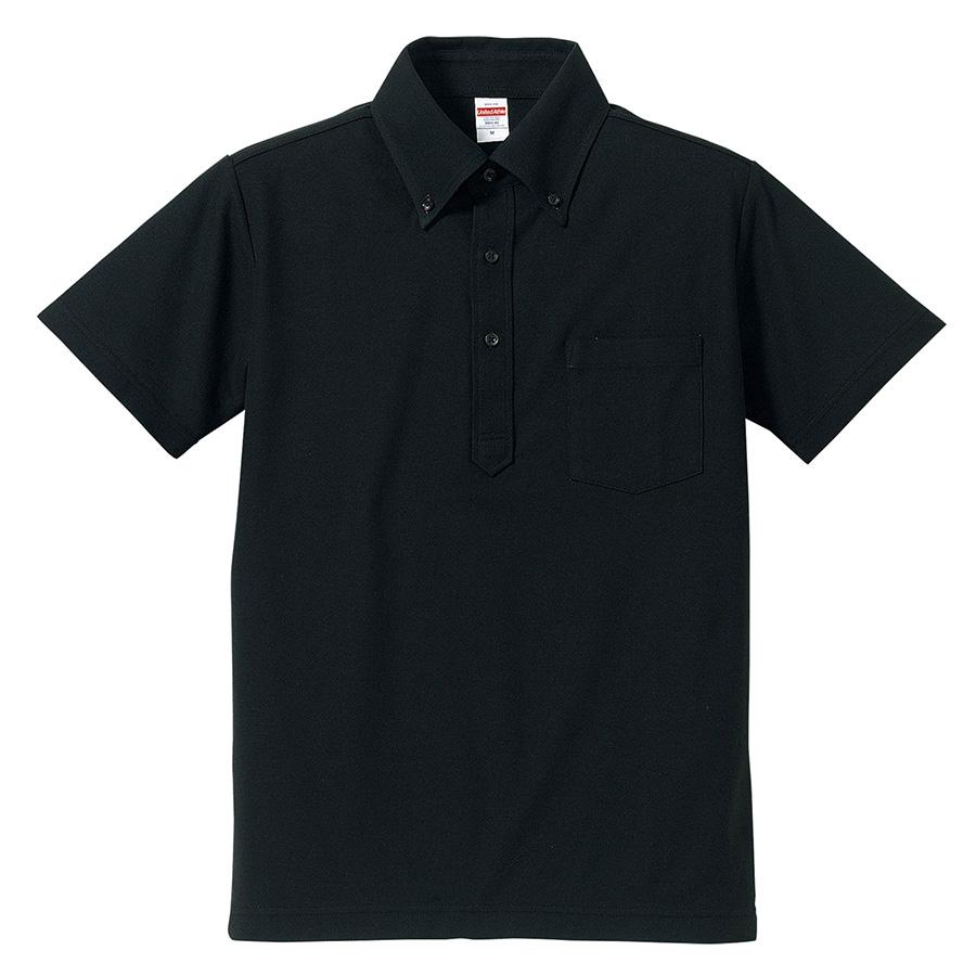 5.3oz ドライカノコ ユーティリティーポロシャツ (ボタンダウン)(ポケット付) 5051−01 002 ブラック
