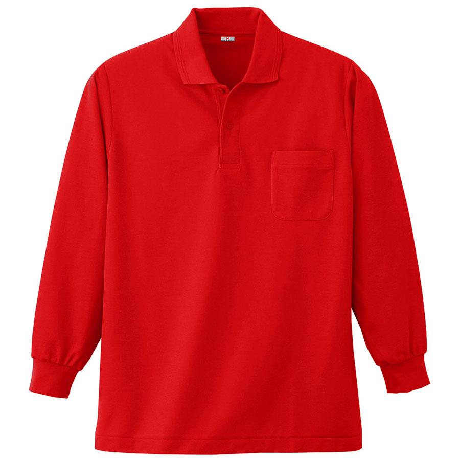 長袖ポロシャツ (胸ポケット付) K383 10 レッド