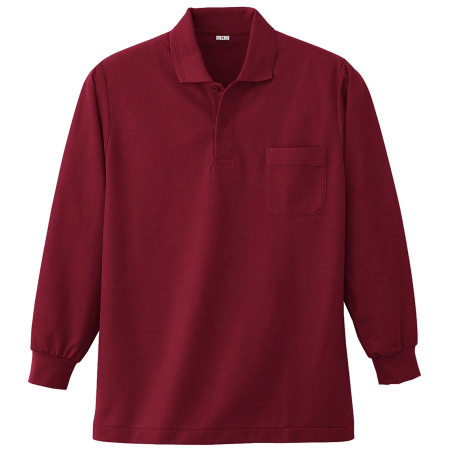 長袖ポロシャツ (胸ポケット付) K383 18 ワイン