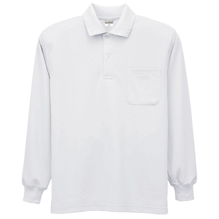 DRY 帯電防止長袖ポロシャツ 8119 90 ホワイト