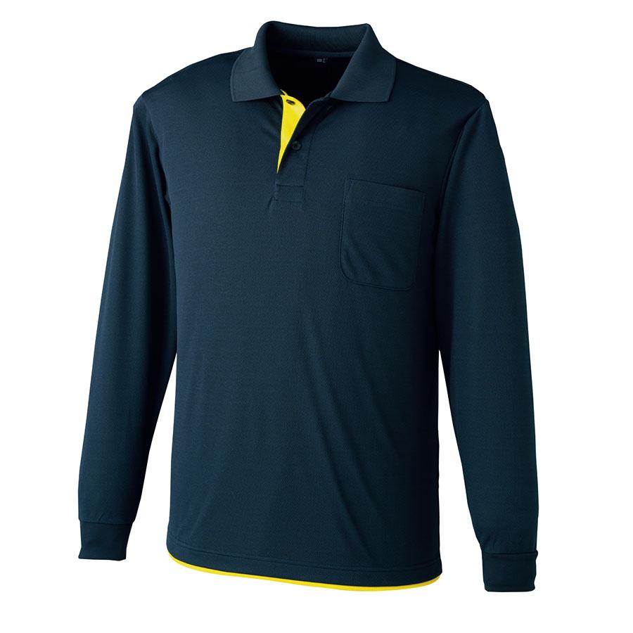 吸水速乾 レイヤード長袖ポロシャツ 6019−1 ネービー