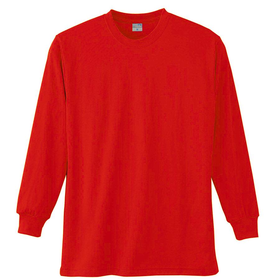 長袖Tシャツ (胸ポケット無) K9009 10 レッド SS〜5L