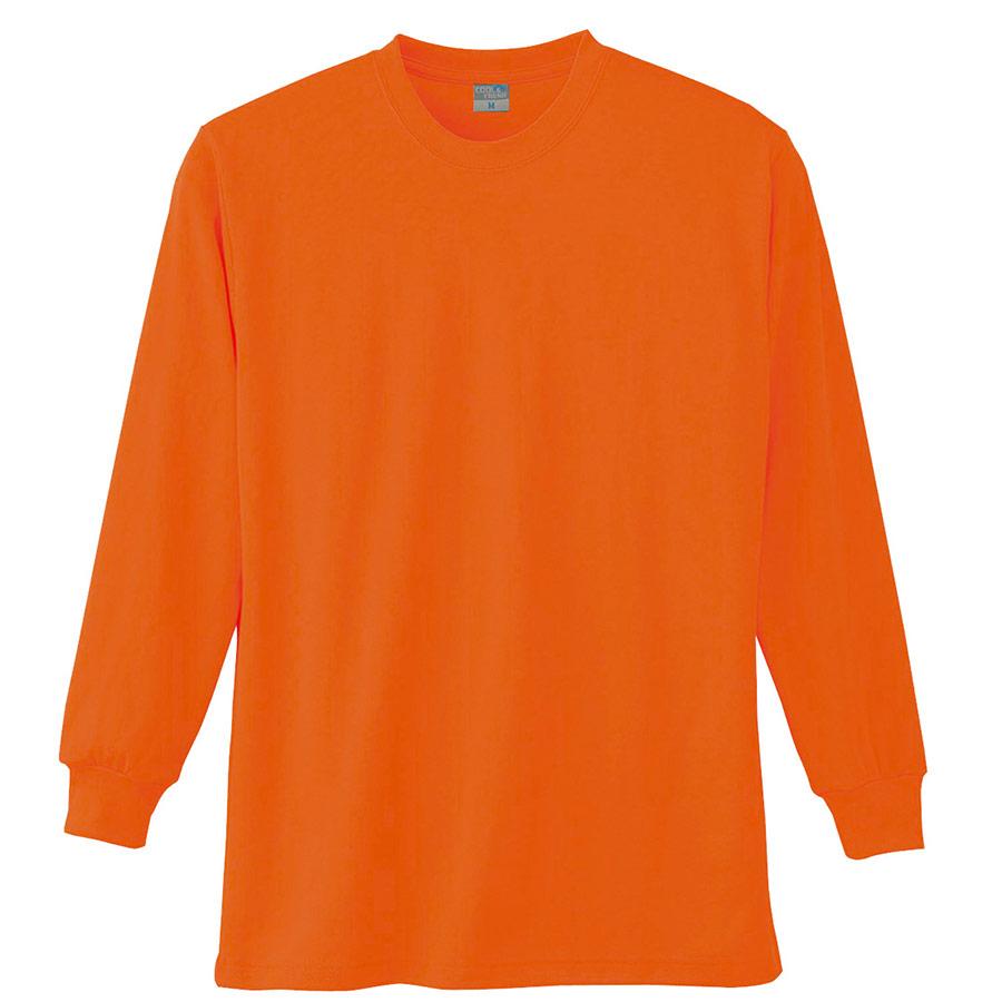長袖Tシャツ (胸ポケット無) K9009 12 オレンジ SS〜5L