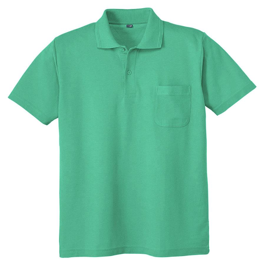 鹿の子 半袖ポロシャツ 001 35 エメグリーン