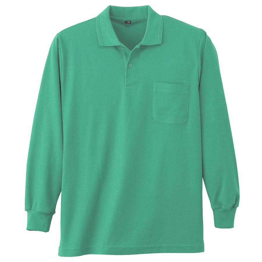 鹿の子 長袖ポロシャツ 002 35 エメグリーン