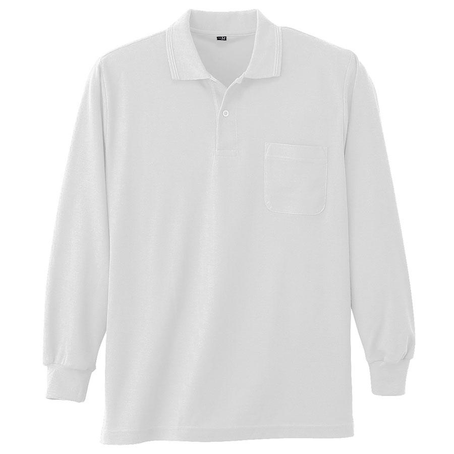 鹿の子 長袖ポロシャツ 002 90 ホワイト