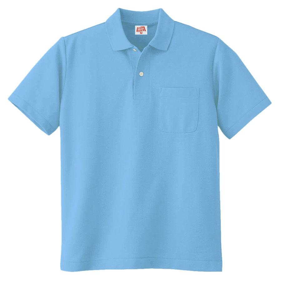 ヘビーウェイト半袖ポロシャツ (ポケット付き) 100 6 サックス