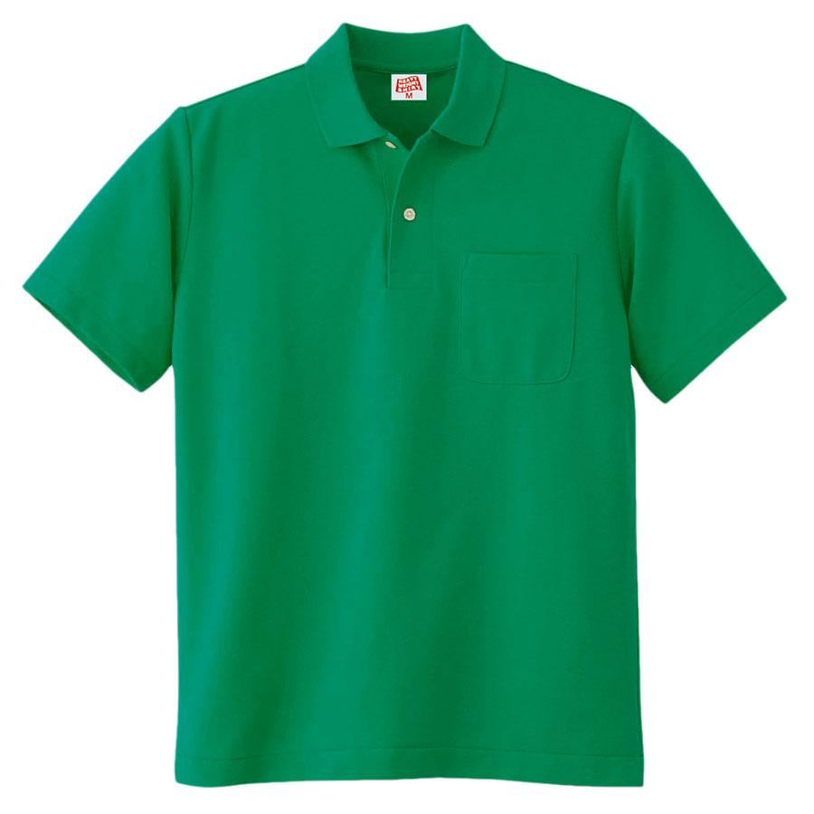 ヘビーウェイト半袖ポロシャツ (ポケット付き) 100 30 グリーン