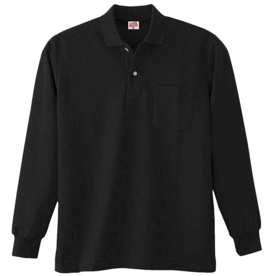 ヘビーウェイト長袖ポロシャツ (ポケット付き) 200 80 ブラック
