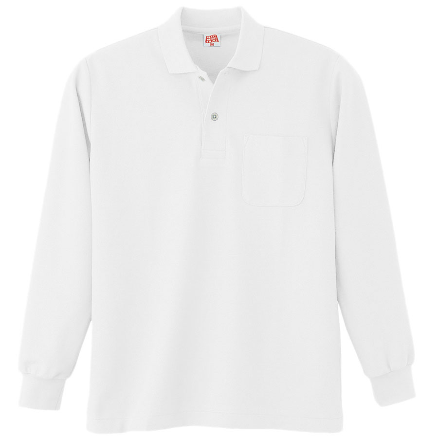 ヘビーウェイト長袖ポロシャツ (ポケット付き) 200 90 ホワイト