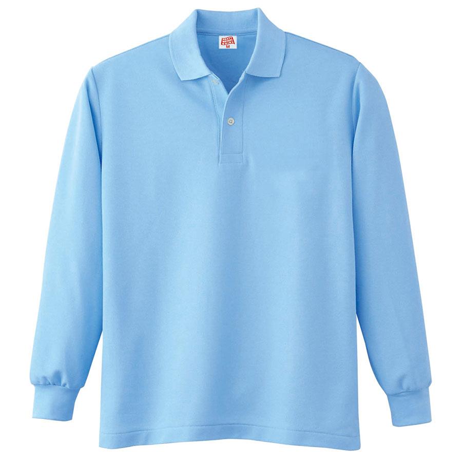 ヘビーウェイト長袖ポロシャツ (ポケットなし) 210 6 サックス