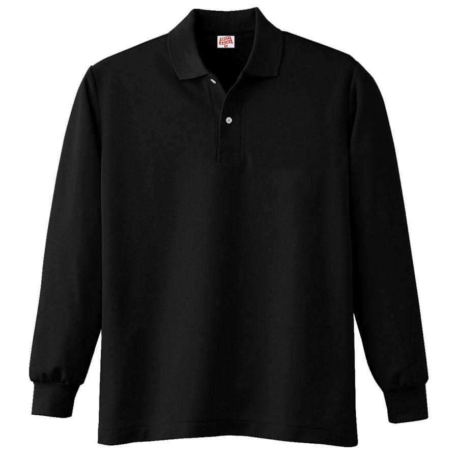 ヘビーウェイト長袖ポロシャツ (ポケットなし) 210 80 ブラック