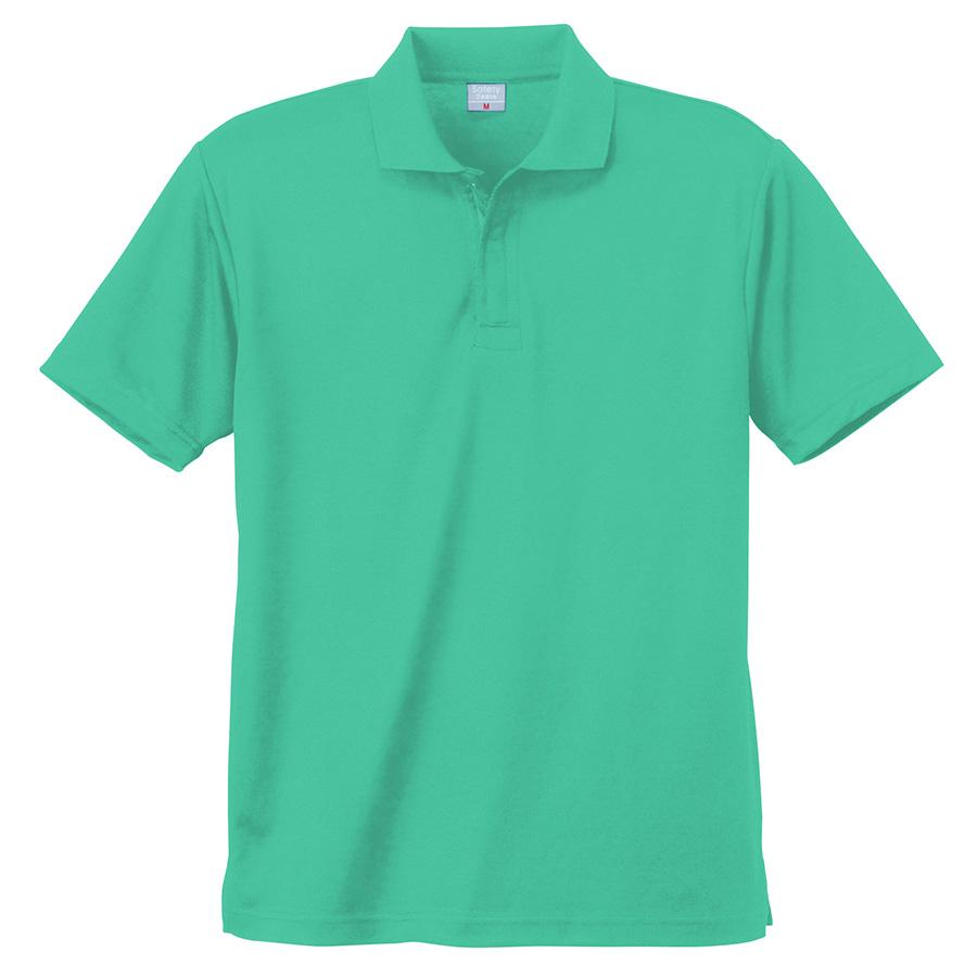 異物混入対策 DRY 半袖ポロシャツ (ネット付き) K801 35 エメグリーン