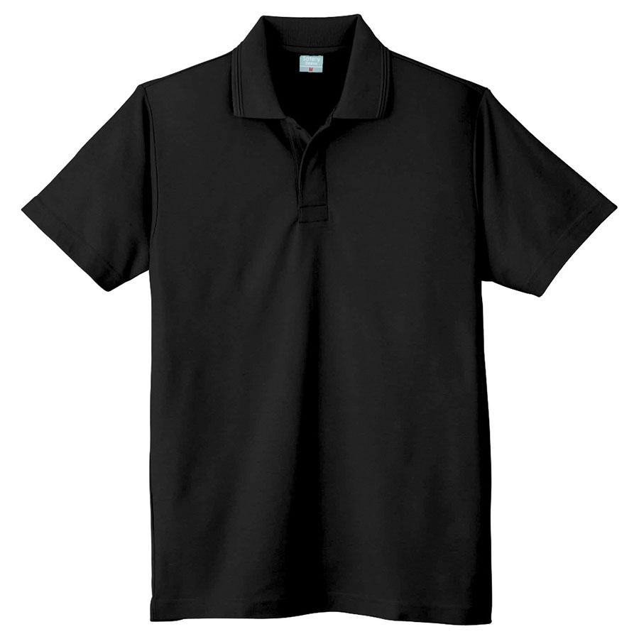 鹿の子 半袖ポロシャツ (ネット付) 802 80 ブラック