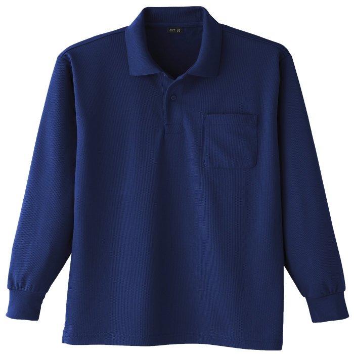 吸汗速乾 長袖ポロシャツ 6002 1 ネービー