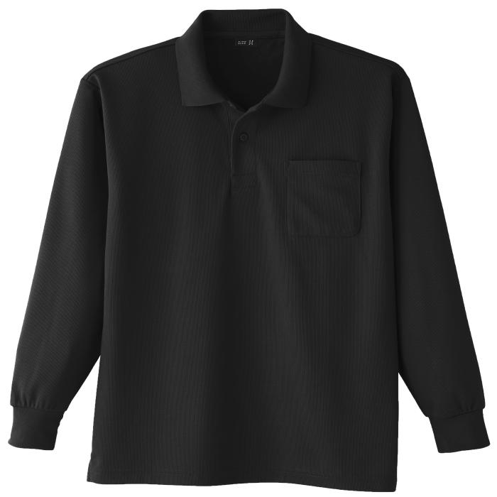 吸汗速乾 長袖ポロシャツ 6002 80 ブラック