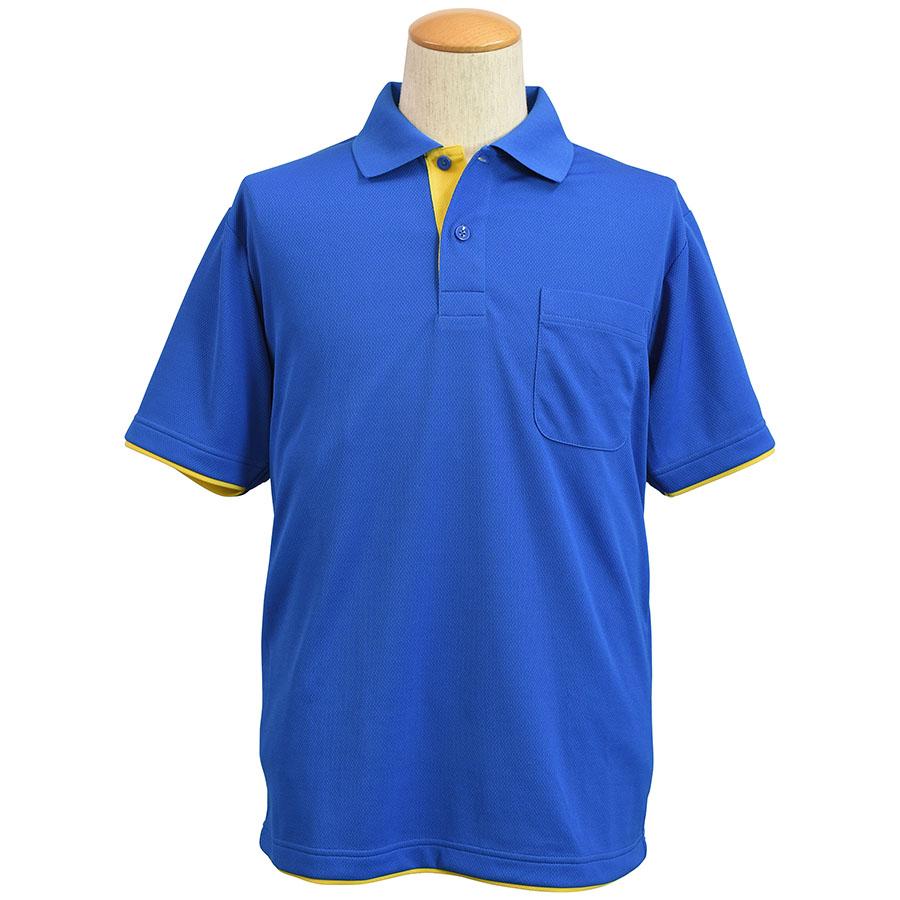吸水速乾 レイヤード半袖ポロシャツ 6018−8 ブルー