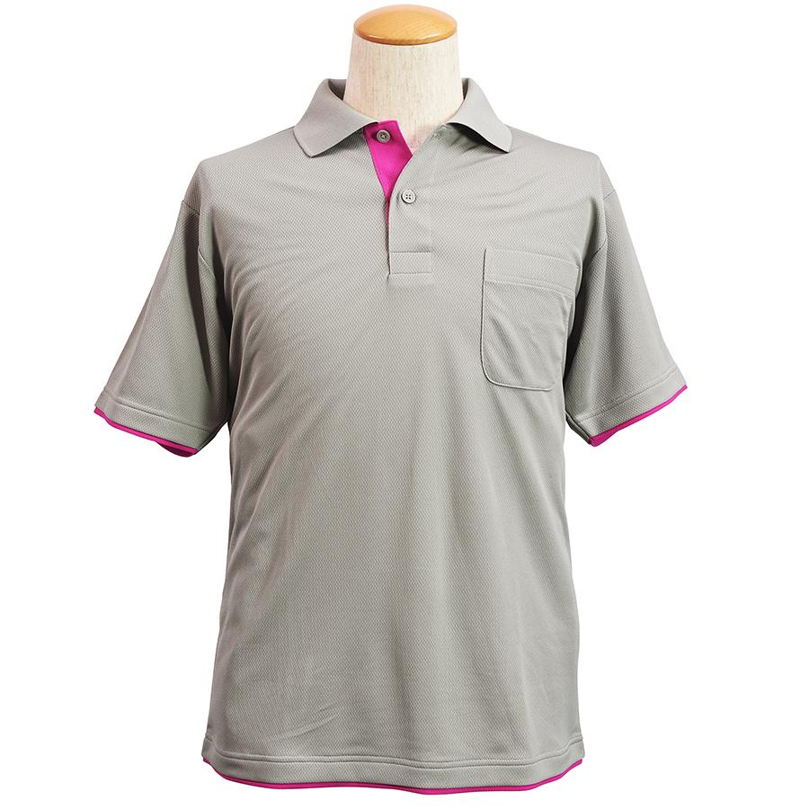 吸水速乾 レイヤード半袖ポロシャツ 6018−40 グレー