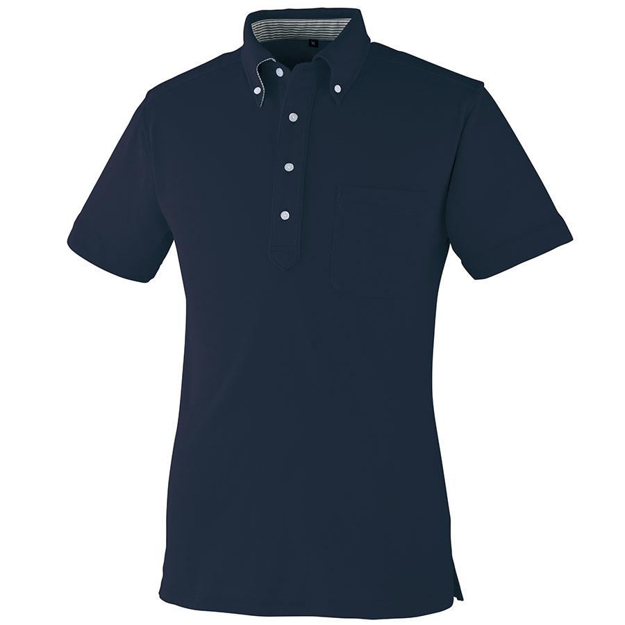 DRY ボタンダウン 半袖ポロシャツ 9020−1 ネービー SS〜5L