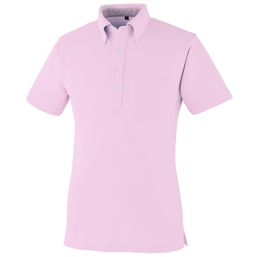 DRY ボタンダウン 半袖ポロシャツ 9020−13 ピンク SS〜5L