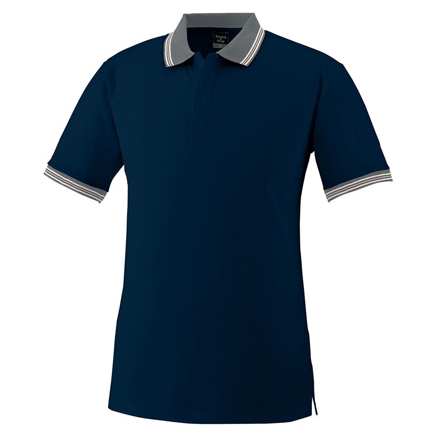 スナップ釦ストレッチ 半袖ポロシャツ 370 1 ネービー